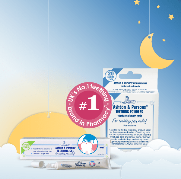 Ashton and Parson teething powder and gel image on day and night image