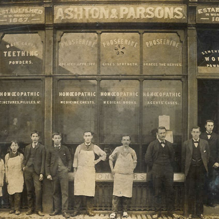 Ashton and Parsons family outside the original shop
